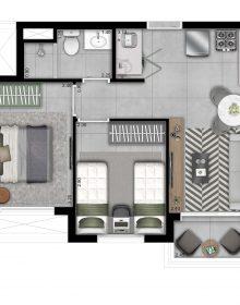 Planta Meio - 2 Dorms com Varanda Grill - 42m²